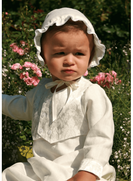 Baptism gown for boys Grace-Philip in Off White linen with vest