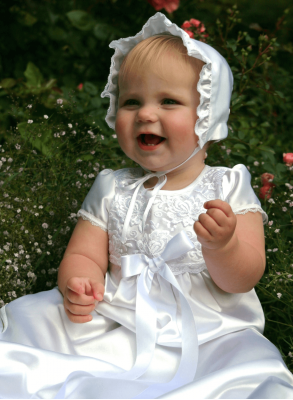Grace-Vickan beautiful white lace baptism gown with navy blue bow