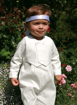 beautiful white baptism costume for boy
