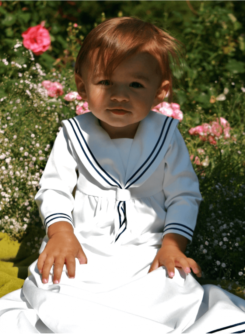 Sailordress christening gown for boy's baptism