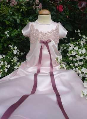 Christening gown Grace-Julia long pink baptism gown