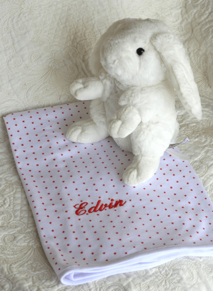baby blanket with white rabbit and name embroidery