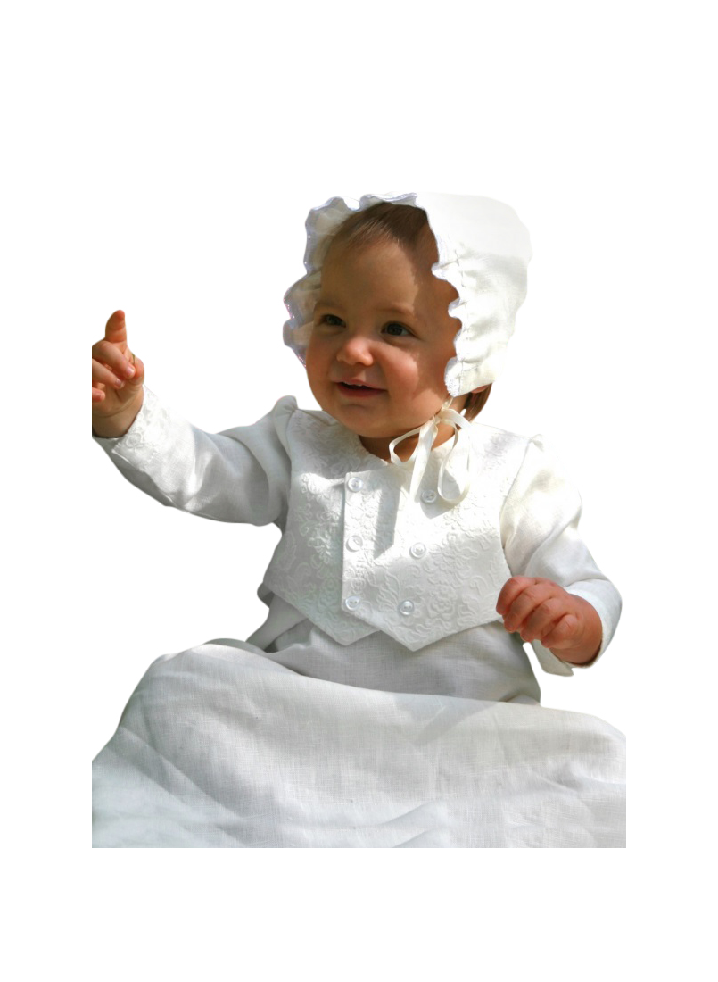 white Baptism gown for boy with vest