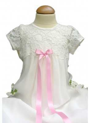 romantic christening gown in antique white