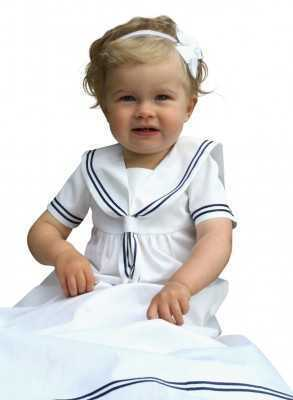 modern white Baptism gown in cotton