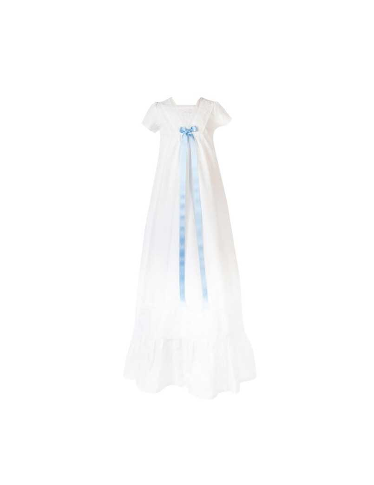 Dopklänning med blått dopband