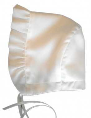 romantic christening bonnet Grace Rose in white satin with chiffon ruffles