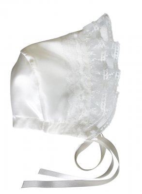 exclusive beautiful christening bonnet Grace Estelle with beautiful lace and satin silk look