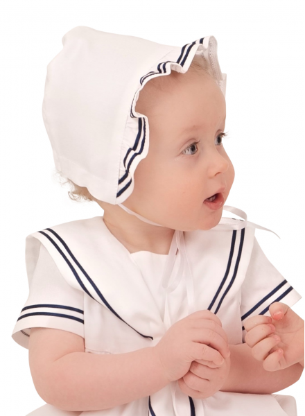 Christening bonnet in Cotton with marine look