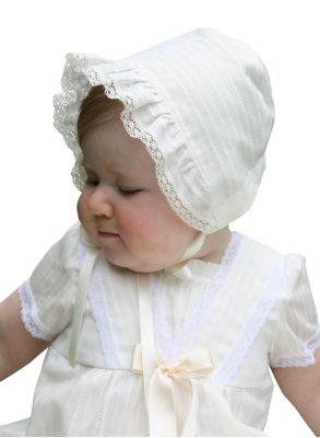 Baptism bonnet on cute girl