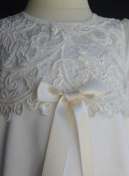Christening gown Grace-Cecilia in off white lace and satin