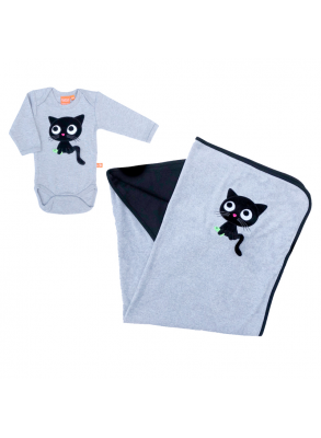 gray baby blanket and body with cute black cat