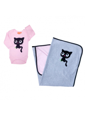 pink and gray baby blanket and body with black cat