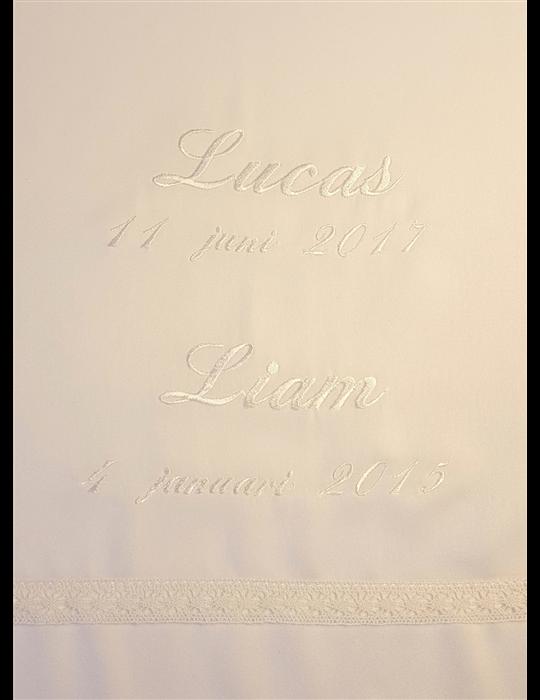 rosa och grå babyfilt och body med svart katt