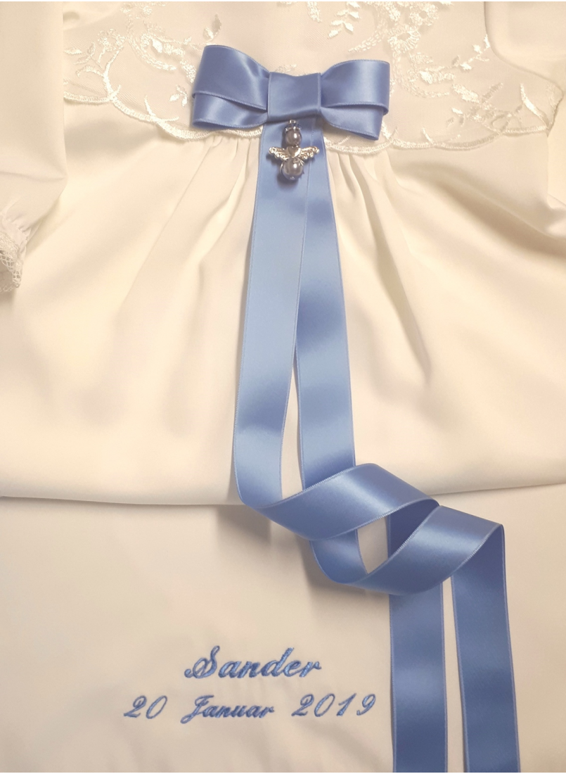 Baptism gown embroidery and unique blue baptism bow