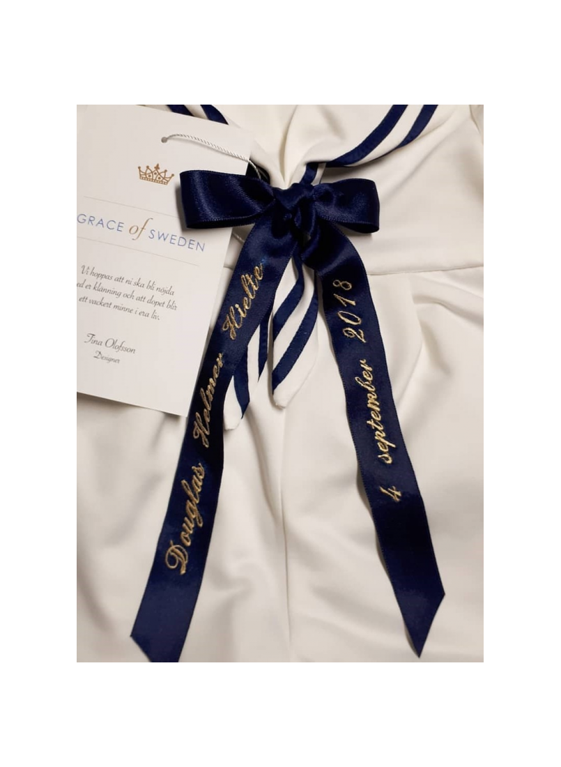 Baptism suite in sailor style bow embroidery
