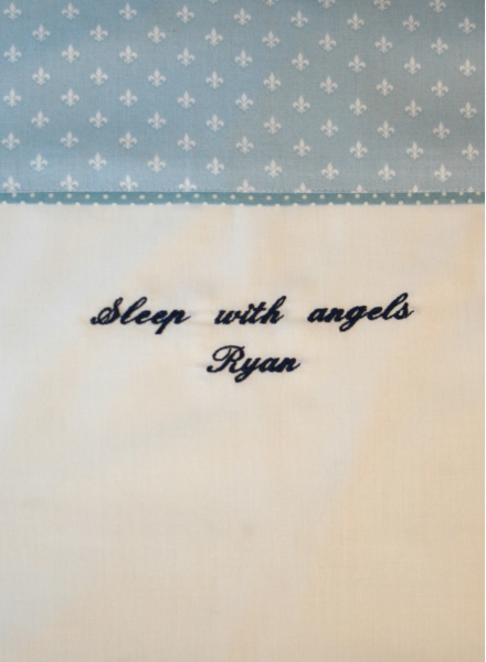 Baby bedding with own choice of embroidery
