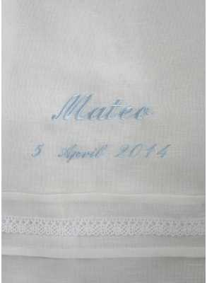 Christening gown embroidery in blue for boy