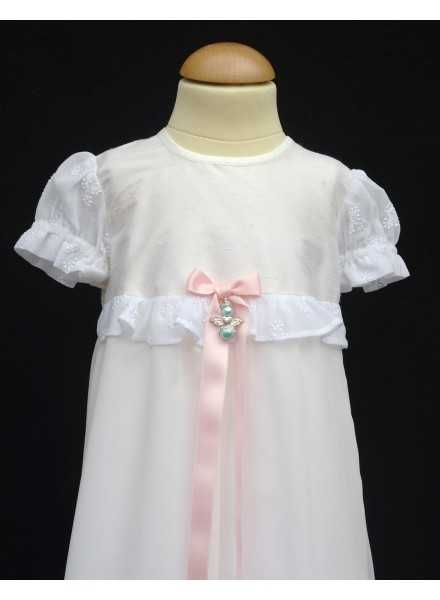 Christening gown Grace-Love Siden i silk with chiffon skirt