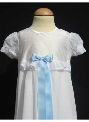 Christening gown Grace-Love Siden i white silk with chiffon skirt