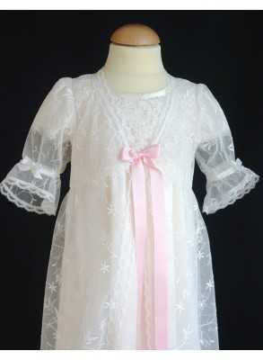 Christening robe Grace-over dress in lovely off white lace
