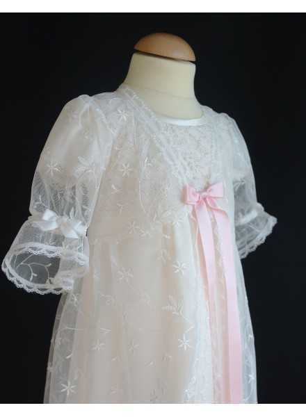 Christening robe Grace-over dress in off white lace