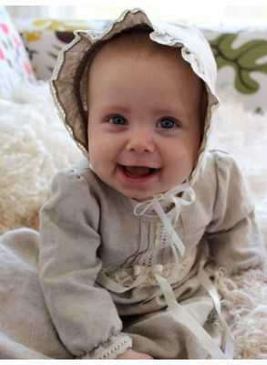 Christening Gowns Tradition natural colored linen beautiful baptismal clothing with off white lace grace of Sweden