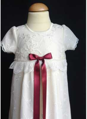 Christening gown Grace-Sara in off white lace in ivory