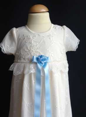 Christening gown Grace-Sara in off white with blue bow