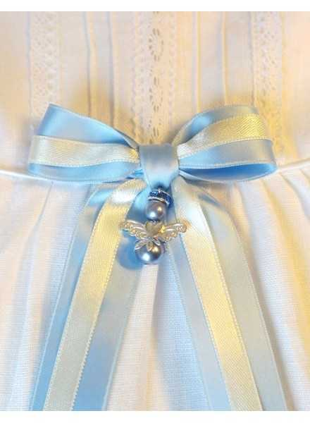 Guardian Angel with blue bow for christening gown or baptism gift