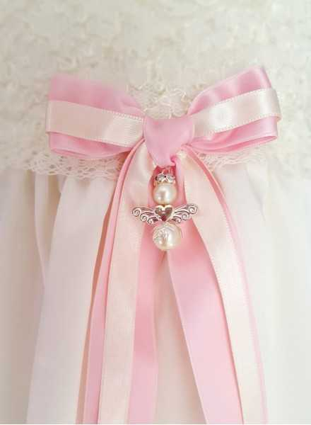 Guardian Angel to christening gown with pink bow for girls