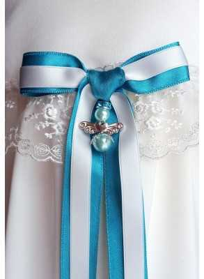Guardian Angel to christening gown for boy with blue bow