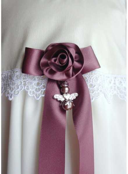 Guardian Angel to christening gown with sweet crafted rose bow