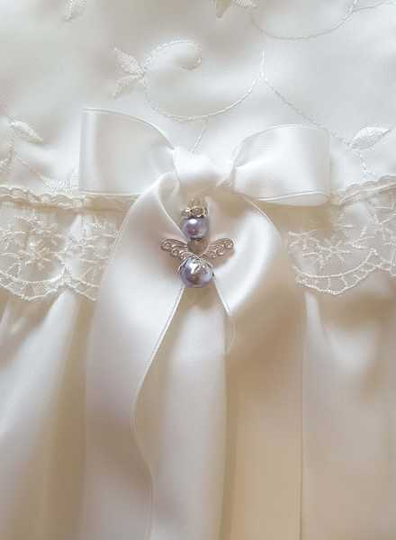 Guardian Angel to christening gown with white bow