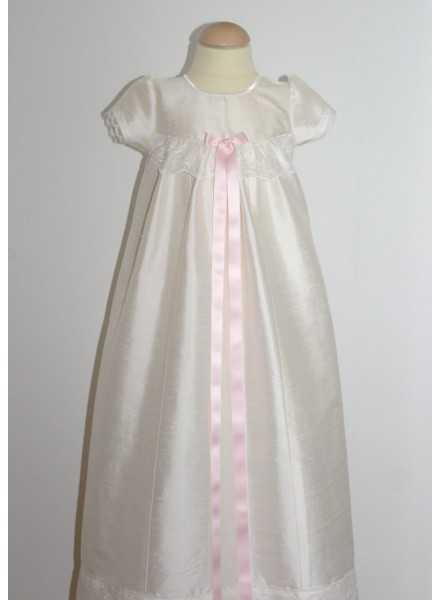 long christening gown in silk Grace-Royal