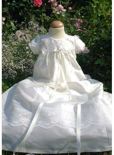 Christening gown Grace-Royal flower in off white silk