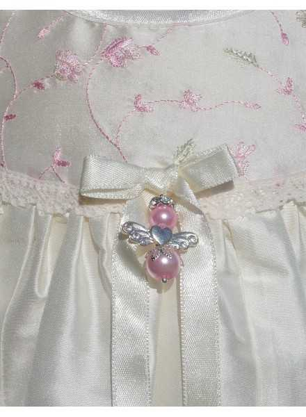 Christening gown Grace-Royal flower in silk with angel