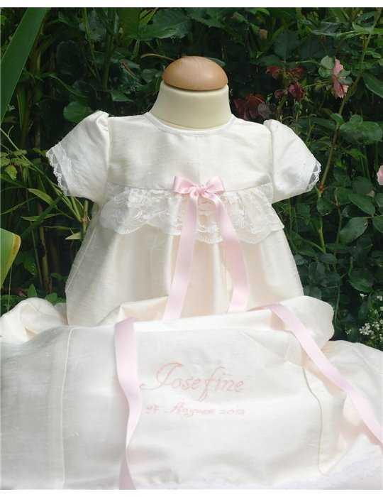 Christening gown Grace-Royal flower in silk