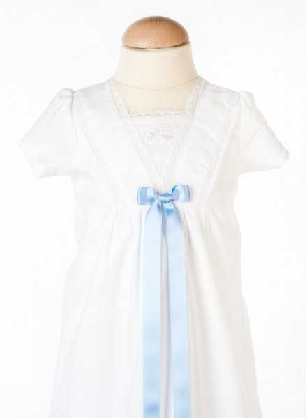 christening gown in cotton Grace-Memories with blue bow for boys
