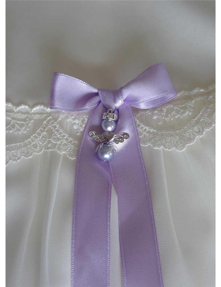 lång Dopklänning i vitt ducesse