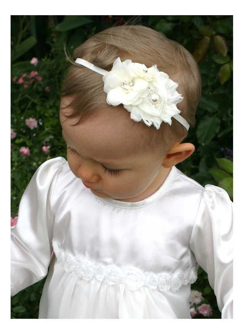 christening gown with roses and matching diadem