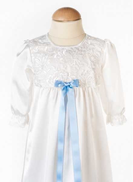 Gr christening baptismace-Vickan beautiful white lace baptism gown with blue bow embroidery to girl