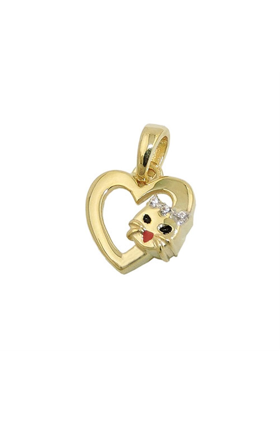 PENDANT HEART WITH CAT HEAD 9K GOLD