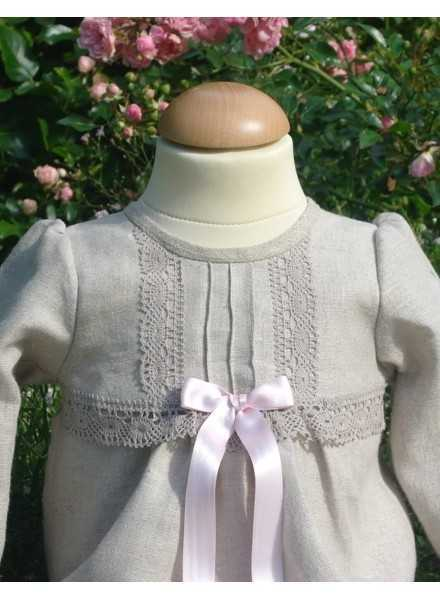 Grace-Tradition christening gown in natural colored linen fabric for girls