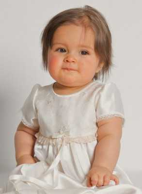 sweet Christening Gowns with flowers embroidered on silk organza and luxurious satin