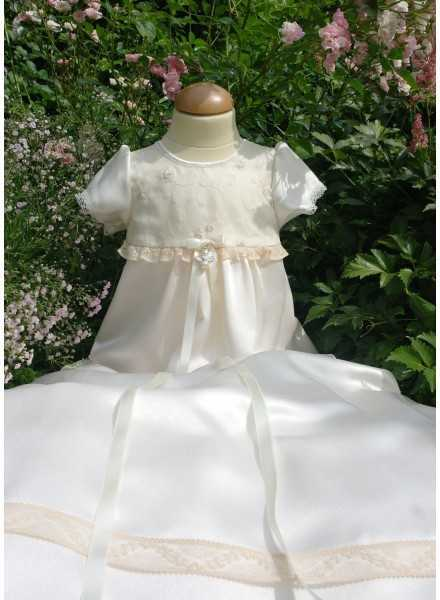 sweet long Christening Gowns with flowers embroidered on silk organza and luxurious satin