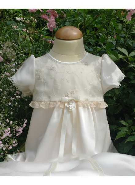 sweet Christening Gowns with flowers embroidered on silk organza and luxurious satin in ivory