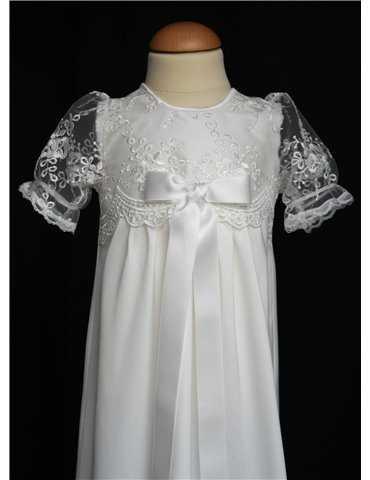 Dopklänning Grace-Philip med väst i vit brokadtyg