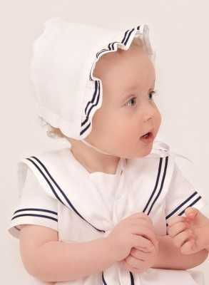 modern white Christening Gowns Cotton Sailor Dress with baptism bonnet for boys