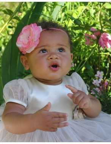Diadem med vacker rosa ros till flickor dop
